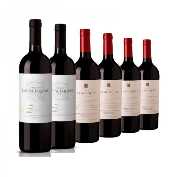 6 Flaschen Valle las Acequias (2x Malbec Roble, 2x S.V. Cabernet Sauvignon, 2x S.V. Malbec)